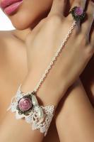 Burlesque-Handschmuck weiß/rosa Gr. OS - OVP - NEU
