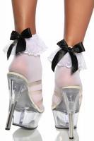Burlesque Söckchen mit Satinschleife weiß/schwarz Gr. OS - OVP - NEU