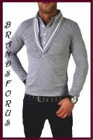 CARISMA 2in1 Longsleeve Hemd Polo Shirt Slim Fit Clubwear Party T-Shirt Herren Shirt HerrenshirtTshirt Sweater Junge Crew Neck Rundhals Basic Heavy Figurbetonende Kurzarm körpernah Slim Fit Body 2in1 Longsleeve Schmale & dehnbare Passform mit Stehkragen.T