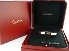 CARTIER 18K Weißgold Liebe Armband, Größe :21-Zertifikat
