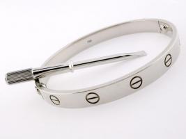 Foto 2 CARTIER 18K Weißgold Liebe Armband, Größe :21-Zertifikat