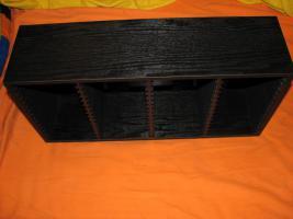 Foto 2 CD / DVD Aufbewahrungsregal aus schwarz gebeiztem Holz zur Wand/ Standmontage