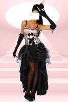 Cabarett-Kostüm Set Burlesque-Stryle rosa/schwarz Gr. Medium (M) - OVP