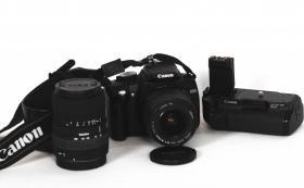 Canon EOS 350D mit original Batteriegriff und 2 Objektiven 18-55 und 55-200