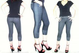 Capri Jeans Leggings Leggins 3/4 Jeggings XS S M sexy Stickerei