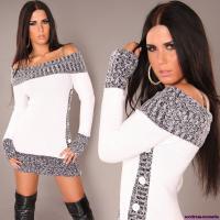 Carmen-Strickkleid in weiß Gr. S/M + M/L + L/XL