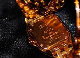 Foto 3 Cartier Santos Quarz Damenuhr 18K Gold