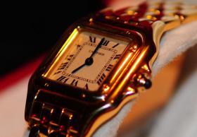 Foto 4 Cartier Santos Quarz Damenuhr 18K Gold