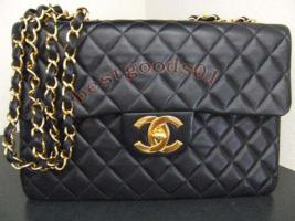 chanel vintage cc jumbo handtasche tasche echt leder schwarz. Black Bedroom Furniture Sets. Home Design Ideas