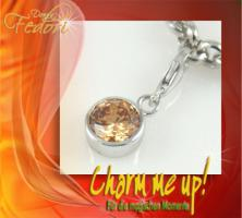 Charm Amber Sphere 925 Sterling Silber, Zirkonia