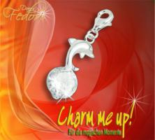 Charm Diamantdelfin 925 Sterling Silber, Zirkonia