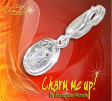 Charm Glamour Stone Oval 925 Sterling Silber, Zirkonia