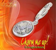 Charm Glamour Stone Rund 925 Sterling Silber, Zirkonia