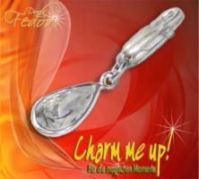 Charm Glamour Stone kleiner Tropfen 925 Sterling Silber, Zirkonia