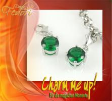 Charm Green Diamond 925 Sterling Silber, Zirkonia