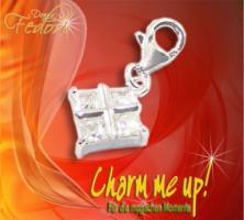 Charm Quadro Twinkle 925 Sterling Silber, Zirkonia