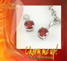 Charm Red Diamond 925 Sterling Silber, Zirkonia