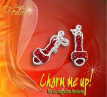 Charm Red Peeptoe 925 Sterling Silber, Kristalle