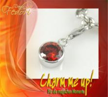 Charm Red Sphere 925 Sterling Silber, Zirkonia