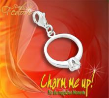 Charm Ring 925 Sterling Silber, Zirkonia
