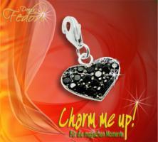 Charm Twinkling black Heart 925 Sterling Silber, Zirkonia