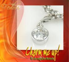 Charm White Sphere 925 Sterling Silber, Zirkonia