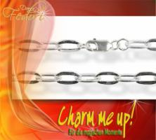 Charms-Armband 925 Sterling Silber, Cable oval flat 5 mm
