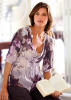 Chiffon-Bluse beige-violett-braun Gr. 38 - OVP - NEU