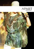 Chiffon-Tunika grün-bedruckt - APART - Größe 34 - Neu & OVP