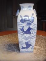 Chinesische Bodenvase weiß-blau