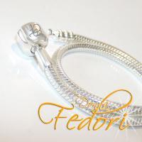 Clip-Armband für Beads 925 Sterling Silber mit dezentem Donna Fedori Logo, Länge ca. 21 cm