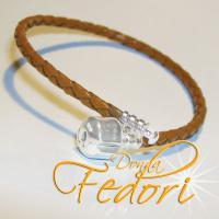 Clip-Armband für Beads 925 Sterling Silber, braunes geflochtenes Leder ca. 20 cm