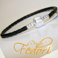 Clip-Armband für Beads 925 Sterling Silber, schwarzes geflochtenes Leder ca. 21 cm