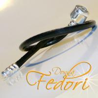 Clip-Armband für Beads 925 Sterling Silber, schwarzes glattes Leder ca. 19 cm