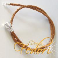 Clip-Doppel-Armband für Beads 925 Sterling Silber, braunes geflochtenes Leder