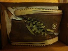 Converse Chucks Boot Braun Leder mit Fell **NAGELNEU** Gr. 44