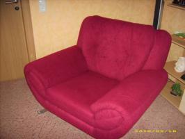 Foto 3 Couch 3'er 2'er 1'er in weinrot guter Zustand abzugeben!
