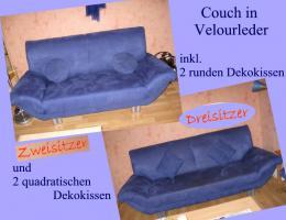 Couch aus Veloursleder, dunkelblau, 2-Sitzer + 3-Sitzer