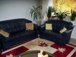 Couch garnitur Leder dunkelblau, 3er-Sitzer, 2er-Sitzer und Sessel, Sofa, nur 100, -€
