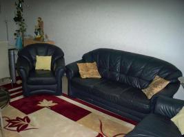 Foto 2 Couch garnitur Leder dunkelblau, 3er-Sitzer, 2er-Sitzer und Sessel, Sofa, nur 100, -€