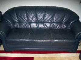 Foto 3 Couch garnitur Leder dunkelblau, 3er-Sitzer, 2er-Sitzer und Sessel, Sofa, nur 100, -€