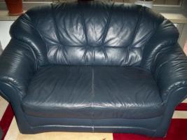Foto 4 Couch garnitur Leder dunkelblau, 3er-Sitzer, 2er-Sitzer und Sessel, Sofa, nur 100, -€