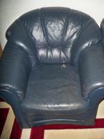 Foto 5 Couch garnitur Leder dunkelblau, 3er-Sitzer, 2er-Sitzer und Sessel, Sofa, nur 100, -€