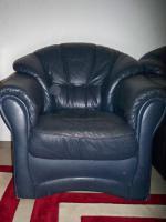 Foto 6 Couch garnitur Leder dunkelblau, 3er-Sitzer, 2er-Sitzer und Sessel, Sofa, nur 100, -€