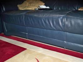 Foto 13 Couch garnitur Leder dunkelblau, 3er-Sitzer, 2er-Sitzer und Sessel, Sofa, nur 100, -€
