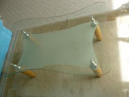 Foto 2 Couch, Glastisch, Esstisch m.  6 Stühlen und Esstischlampe