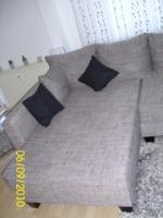 Couch, U-Form, grau/schwarz