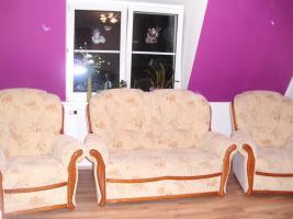 Couchgarnitur 2 Sessel + 1 Zweisitzer mit Echtholzrahmen