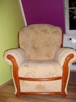 Foto 2 Couchgarnitur 2 Sessel + 1 Zweisitzer mit Echtholzrahmen