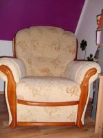Foto 3 Couchgarnitur 2 Sessel + 1 Zweisitzer mit Echtholzrahmen